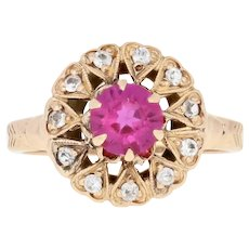 1.00ctw Round Cut Synthetic Ruby & Synthetic Sapphire Vintage Ring 10k Gold Halo
