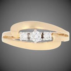 .16ctw Round Brilliant Diamond Ring - 18k Yellow Gold Three-Stone Bypass