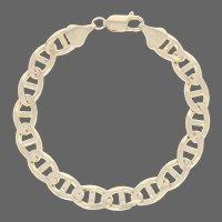 """Italian Anchor Chain Bracelet 8"""" - 14k Yellow Gold Men's Lobster Claw Clasp"""