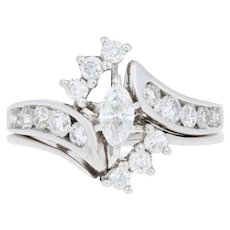 1.00ctw Marquise Diamond Engagement Ring & Wedding Band 14k White Gold Bypass