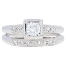 .43ctw Round Brilliant Diamond Vintage Engagement Ring & Wedding Band 14k Gold