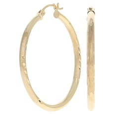 Etched Hoop Earrings - 10k Yellow Gold Pierced Snap Closures
