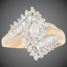 1.00ctw Marquise Cut Diamond Ring - 14k Yellow Gold Halo Bypass