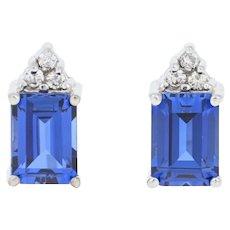 2.36ctw Rectangle Cut Synthetic Sapphire & Diamond Earrings - 14k Gold Pierced