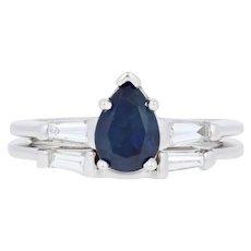 1.87ctw Pear Cut Sapphire & Diamond Engagement Ring & Wedding Band 14k Gold Set