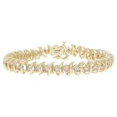 "5.00ctw Round Brilliant Diamond Bracelet 6 1/2"" - 14k Yellow Gold Tennis"