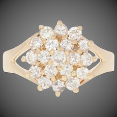 1.00ctw Round Brilliant Diamond Ring - 14k Yellow Gold Tiered Cluster Halo