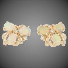 1.58ctw Oval Cabochon Cut Opal & Diamond Earrings -14k Yellow Gold Pierced Studs
