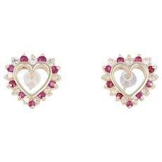 1.00ctw Round Cut Ruby & Diamond Heart Earrings - 14k Yellow Gold Pierced Studs