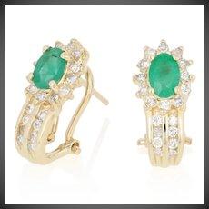 1.50ctw Oval Cut Emerald & Diamond Earrings - 14k Gold Pierced Halo J-Hoops