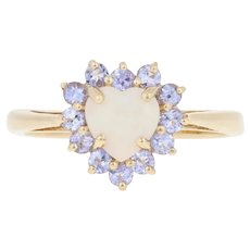 .95ctw Heart Cabochon Cut Opal & Tanzanite Ring - 10k Yellow Gold Halo