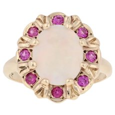 1.81ctw Oval Cabochon Cut Opal & Synthetic Ruby Vintage Ring - 10k Gold Halo