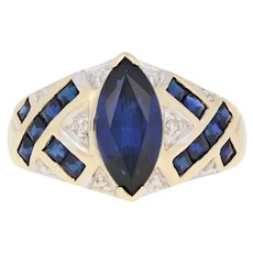 3.00ctw Marquise Cut Synthetic Sapphire Ring - 10k Yellow Gold Diamond Accents