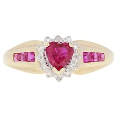 .76ctw Heart Cut Synthetic Ruby & Diamond Ring - 10k Yellow Gold Halo