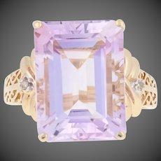 10.52ctw Rectangle Cut Rose de France Amethyst & Diamond Ring 10k Yellow Gold