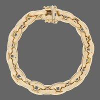 """Fancy Cable Chain Bracelet 6"""" - 18k Yellow Gold Italy"""