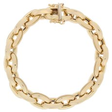 "Fancy Cable Chain Bracelet 6"" - 18k Yellow Gold Italy"