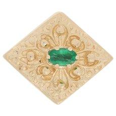 Richard Glatter .25ct Oval Cut Emerald Slide Charm - 14k Yellow Gold Ornate