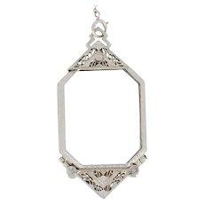 "Art Deco Opera Glasses Pendant Necklace 24 3/4"" - 14k White Gold Vintage"
