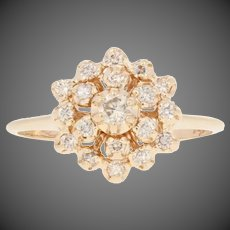 .25ctw Round Brilliant Diamond Ring - 14k Yellow Gold Women's Tiered Cluster