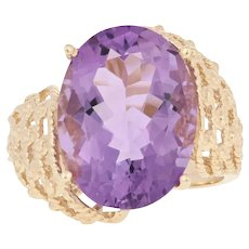 9.00ct Oval Cut Amethyst Cocktail Ring - 10k Yellow Gold Solitaire Bypass