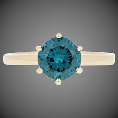 1.50ct Round Cut Synthetic Spinel Ring - 10k Yellow Gold Engagement Solitaire