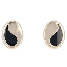 Oval Cut Black Onyx Earrings - 14k Yellow Gold Pierced Paisley Studs