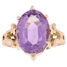 5.20ct Oval Cut Amethyst Edwardian Ring - 14k Gold Antique Cocktail Solitaire