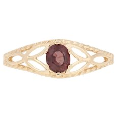 .50ct Oval Cut Ruby Ring - 14k Yellow Gold Women's Solitaire