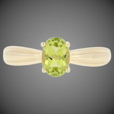 1.00ct Oval Cut Peridot Ring - 10k Yellow Gold Women's Solitaire