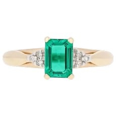 1.02ctw Rectangle Cut Synthetic Emerald & Diamond Ring -10k Yellow Gold Women's