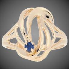 .12ct Round Cut Sapphire Ring - 14k Yellow Gold Swirl