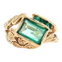 Yellow Gold Emerald Botanical Leaf Ring - 14k Emerald Cut 3.10ctw Unisex Size 8
