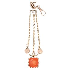 Carnelian Intaglio Victorian Fob Clip Pocket Watch Chain 10k Gold & Gold Filled