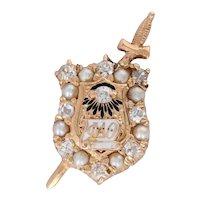 Phi Delta Theta Badge - 14k Gold Antique 1914 Fraternity Diamond Pearls Enamel