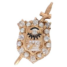 Phi Delta Theta Badge - 14k Gold Antique 1914 Fraternity Diamond Pearls Enamel