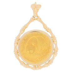 1987 Authentic Chinese 25 Yuan Coin Pendant - 14k Gold & .999 Gold Bamboo