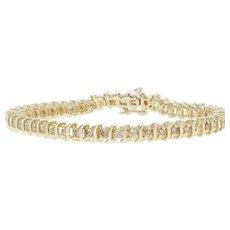 "2.00ctw Round Brilliant Diamond Bracelet 7"" - 14k Gold Tennis Champagne Brown"