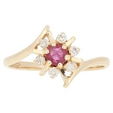 .34ctw Round Cut Ruby & Diamond Ring - 14k Yellow Gold Halo Bypass