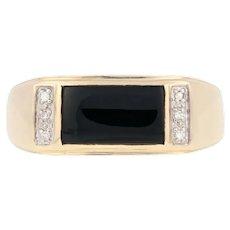 Black Onyx & Diamond Men's Ring - 10k Yellow Gold Size 11 1/4