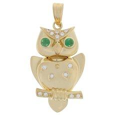 .53ctw Round Cabochon Cut Emerald & Diamond Owl Pendant - 18k Yellow Gold Bird