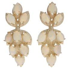 6.30ctw Oval Cabochon Cut Opal Leaf Earrings - 14k Yellow Gold Pierced Dangles