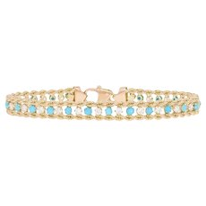 """Cabochon Cut Turquoise & Cubic Zirconia Bracelet 7 1/4"""" - 14k Gold Rope 1.76ctw"""