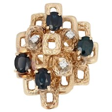 2.48ctw Oval Cut Sapphire & Diamond Ring - 14k Yellow Gold Abstract