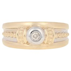 Round Brilliant Diamond-Accented Ring - 14k Gold Matte Rope Design Heart Accents