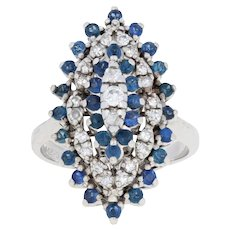 1.40ctw Round Cut Sapphire & Diamond Ring -14k Gold Tiered Cocktail Cluster Halo