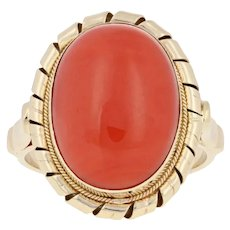 Oval Cabochon Cut Coral Ring - 14k Yellow Gold Cocktail Solitaire Italy