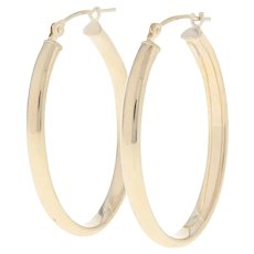 Oval Hoop Earrings - 14k Yellow Gold Pierced Snap Closures