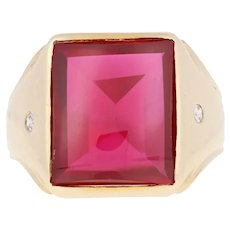 11.56ctw Rectangle Cut Synthetic Ruby & Diamond Ring - 10k Yellow Gold Men's