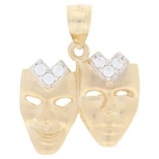 Cubic Zirconia Comedy & Tragedy Masks Pendant - 14k Gold Sock & Buskin Drama